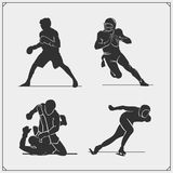 Vector set of sport players silhouettes. Black and white Royalty Free Stock Photography