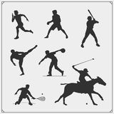 Vector set of sport players silhouettes. Black and white Stock Photography