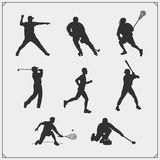 Vector set of sport players silhouettes. royalty free illustration