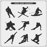 Vector set of sport players silhouettes. Winter sport. Black and white Royalty Free Stock Images