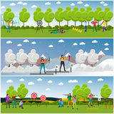 Vector set of sport shooting banner. Competition games. People in shoot positions Stock Image