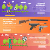 Vector set of sport shooting weapons banners Royalty Free Stock Photo