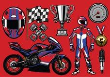 Set of sportbike racing elements Stock Image