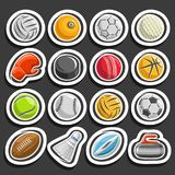 Vector set of Sports Balls. Collection of sporting and gaming equipment, balls of different kinds of sports, boxing glove, ice hockey puck, badminton Royalty Free Stock Photos