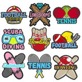 Vector set of sports emblems, badges, logos, labels, banners. Isolated templates bowling, tennis, skateboard, football Stock Photos