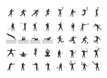 Vector set of sports figures athletes. Silhouettes of sportsmen Royalty Free Stock Images
