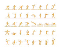 Vector set of sports figures athletes. Silhouettes of sportsmen. The runners, golfers, swimmers, yogis, boxing and archery Stock Photography