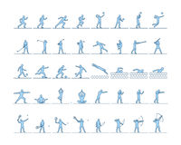 Vector set of sports figures athletes. Silhouettes of sportsmen. The runners, golfers, swimmers, yogis, boxing and archery Stock Photos