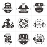 Vector set of sports and fitness club logo, athletic labels and badges templates. Gym, bodybuilder, fit man, athlete icon. Can be used to design business cards Royalty Free Stock Photography