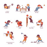 Vector set of sportsmens Stock Photos