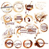 Vector set of spot grunge elements from coffee Royalty Free Stock Photo