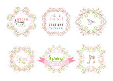 Vector set of spring blossoms frames. Royalty Free Stock Photos