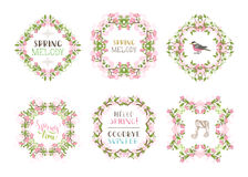 Vector set of spring floral frames. Royalty Free Stock Image