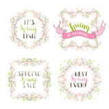 Vector set of spring floral frames. Stock Photography