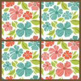 Vector set. Spring flowers patterns. Royalty Free Stock Images