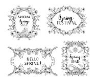 Vector set of spring frames and ornaments. Stock Photos