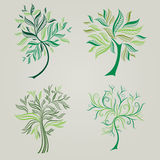Vector set of spring tree design elements Royalty Free Stock Images