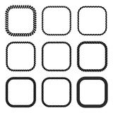 Vector set of square black monochrome rope frame. Collection of thick and thin borders isolated on the white background consisting of braided cord. For Stock Images