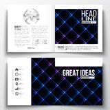 Vector set of square design brochure template. Abstract polygonal background, modern stylish sguare vector texture Royalty Free Stock Photography