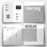 Vector set of square design brochure template. Molecular construction with connected lines and dots, scientific pattern Royalty Free Stock Image