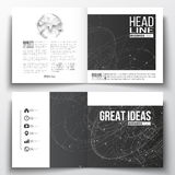 Vector set of square design brochure template. Molecular construction with connected lines and dots, scientific pattern Stock Photography