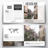 Vector set of square design brochure template. Polygonal background, blurred image, urban landscape, modern stylish Stock Photography