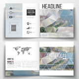 Vector set of square design brochure template. Polygonal background, blurred image, urban landscape, modern stylish Royalty Free Stock Photography