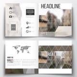 Vector set of square design brochure template. Polygonal background, blurred image, urban landscape, modern stylish Stock Image