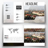 Vector set of square design brochure template. Polygonal background, blurred image, urban landscape, Prague cityscape Royalty Free Stock Photos