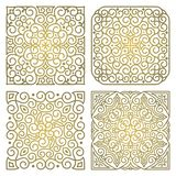 Vector set of square gold ornament patterns. Vector set of square art oriental ornamental elements in linear style. For decoration and design of textiles, text