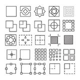 Vector set of Square and Rectangle experimental icons Stock Photos