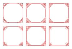 Vector set of square red frames with hearts, flourishes, curls in vintage art deco style vector illustration