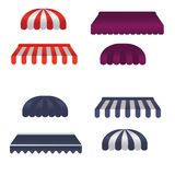 Vector set of square and round awnings vector illustration