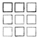 Vector set of square drawn with ink frame 4. Vector set of square sloppy black ink frames, drawn by hand. Thin and wide frame of lines, splashes and spots of royalty free illustration