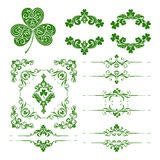 Vector set of st. Patrick's Day decorative ornamental page decoration elements Stock Photos