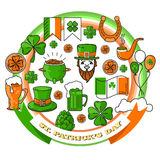 Vector set of St. Patrick`s Day icon on white background. Royalty Free Stock Photo