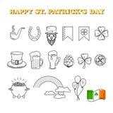 Vector set of St. Patrick`s Day icon on white background. Vector set of St. Patrick`s Day icon. Holiday Irish design element. Traditional irish symbols in Stock Photography