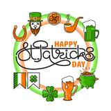 Vector set of St. Patricks Day icon on white background. Vector set of St. Patricks Day icon situated on circle with handwritten text in the middle. Holiday Royalty Free Stock Photography