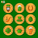 Vector set of St. Patricks Day icon on white background. Saint Patrick`s  set. Vector linear colorful icons in orange circles Isolated on green background Stock Images