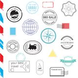 Vector Set of Stamps and Badges. Passport, post Royalty Free Stock Photography