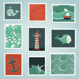 Vector set with stamps and sea design elements Royalty Free Stock Images
