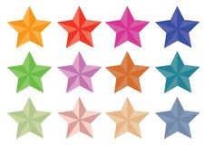Vector set of stars isolated on white background with different colours. Symbol of leadership vector illustration