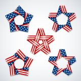 Vector Set of stars made of ribbon with USA flag stars and stripes. Set of stars made of ribbons with USA flag stars and stripes. Symbol design for american Royalty Free Stock Image