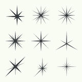 Vector set of stars. Vector set of sparkle lights stars. Stars with rays, explosion, fireworks Stock Images