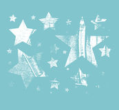 Vector Set of Stars. Stars with different patterns. Stars icons. Hand drawn doodle Stars. Royalty Free Stock Image