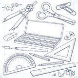 Vector set stationery for school and student, paint and brush, a compass, scissors and a pencil. Vector illustration, sketch icons, set stationery for school and Stock Images