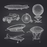 Vector set of steampunk hand drawn dirigibles, bicycles royalty free illustration