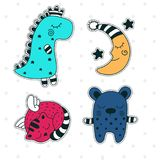Magic dreams. Stickers. Vector set of stickers. Children`s characters royalty free illustration
