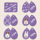 Vector set of stickers for easter sale. S with the size of discounts: for each of the discounts you can set own picture on the back label Stock Photos
