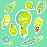 Vector set of stickers in the form of bulbs. Vector set of different types of light bulbs made in the same style stock illustration